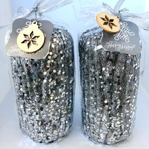 2 Silver Glitter Candles